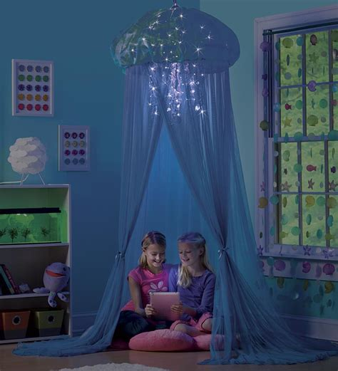 aquaglow light  jellyfish hideaway bed canopy mermaid