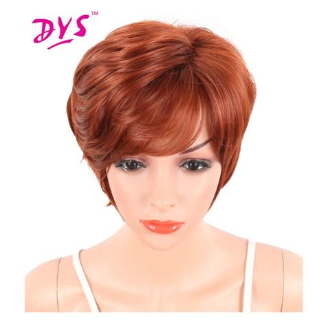 natural black short blunt cut pixie synthetic hair with deyngs pixie cut short synthetic wigs with bangs for black