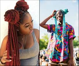 colorful box braids black bun hairstyles for look