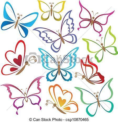 clipart farfalla clipart vettoriali di estratto set farfalle set
