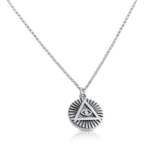 illuminati necklace illuminati circle all seeing eye charm pendant necklace 925