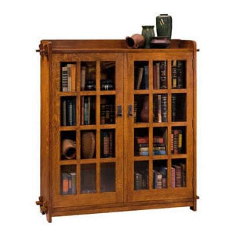 Mission Style Bookcase With Glass Doors Stickley Style Bookcase Arts Crafts And Similar Aesthetics Pi