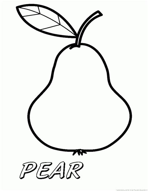 pear coloring sheet coloring pages