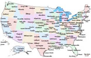 maps us map with major cities