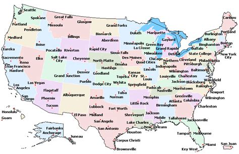 united states map with states and cities printable map of usa free printable maps