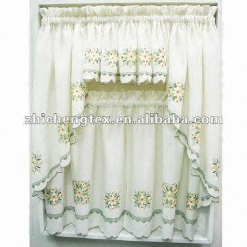 Embroidered Kitchen Curtains Embroidered Sheer Kitchen Curtains Floral Ruffled Kitchen Curtain Global Sources