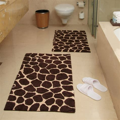giraffe bathroom set 2 piece giraffe bath rug set chocolate and beige
