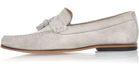 grey suede loafers river island light grey suede tassel loafers in gray for