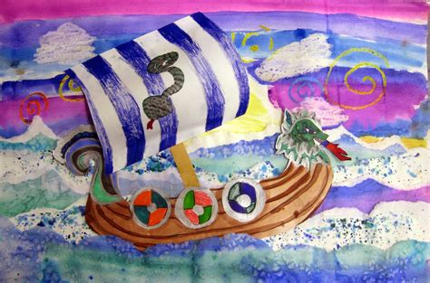 project collage template design projects stephens in the artroom 4th grade viking ships