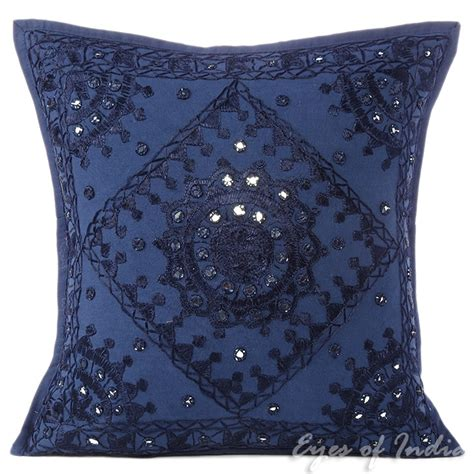 boho pillows 16 quot blue embroidered decorative sofa pillow cushion cover
