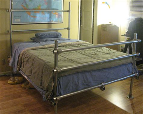 Diy Pipe Bed Frame Home Dzine Bedrooms Make A Bed Using Industrial Galvanized Steel Pipe
