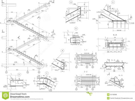 section of stairs drawing drawing stairs uzi section stock illustration