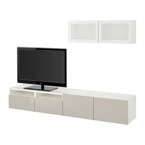 besta system best 197 tv storage combination glass doors white selsviken