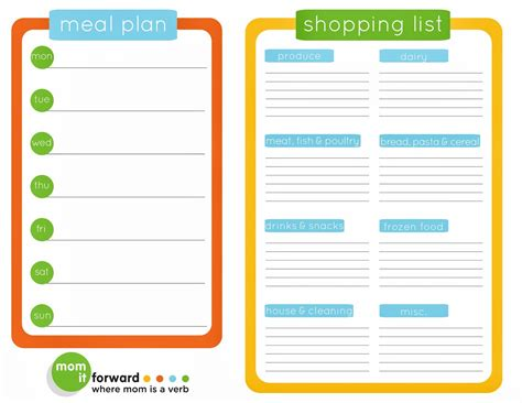 printable weekly meal plan with shopping list life is sew daily never forget an item on your grocery