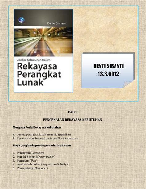 Rekayasa Perangkat Lunak 1 resume buku rekayasa perangkat lunak daniel siahaan