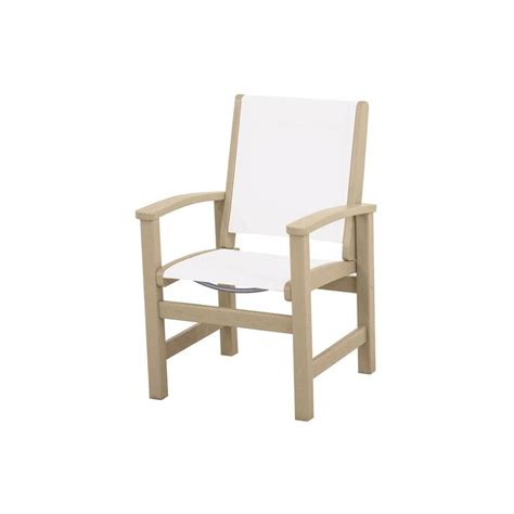 White Outdoor Dining Chair Polywood Satin White Sand Patio Dining Chair A200 13sa The Home Depot