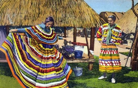 Seminole Patchwork History - a seminole shows traditional clothing florida