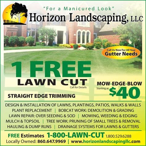 Landscaping Advertising Ideas Lawn Care Ad From Horizon Landscaping Llc In Manchester Ct 06040