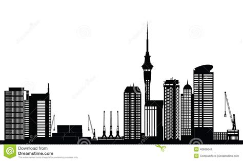 Auckland Skyline Outline by Outline Auckland Skyline With Blue Buildings And Copy Space Vector Cartoondealer