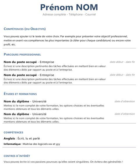 Rediger Un Cv Gratuit by Mod 232 Le De Cv Fonctionnel Avec Tableaux 224 T 233 L 233 Charger