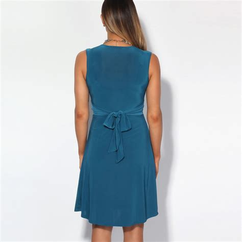 Dress Wst 9928 ruched drape twist knot front mini dress tie belted