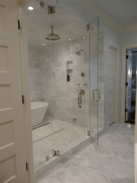 Steam Shower With Marble Tiling Swing In And Out Doors Bathroom Steam Room Shower