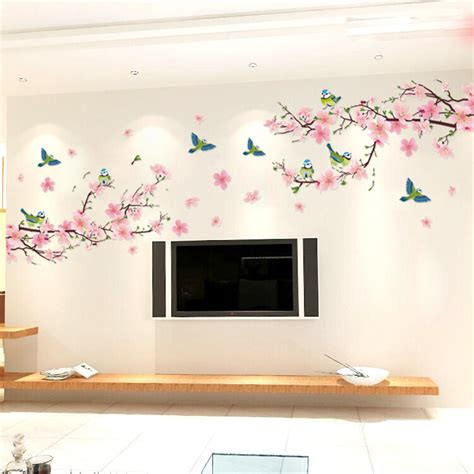 removable wall decals for living room sakura wall stickers decal bedroom living room diy flower