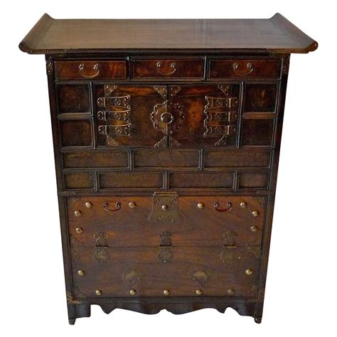 Korean Cabinet Furniture by Korean Xix Decorative Cabinet Lined With Printed Rice