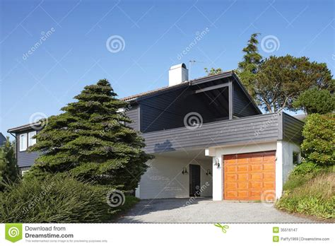 house plans the garage a cedar homes modern wooden house with garage in norway stock image