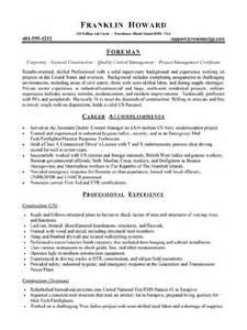 Construction Foreman Resume Sle by Workalpha Foreman Resume