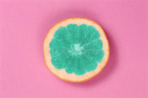 grapefruit color top view popart grapefruit green color on a pink