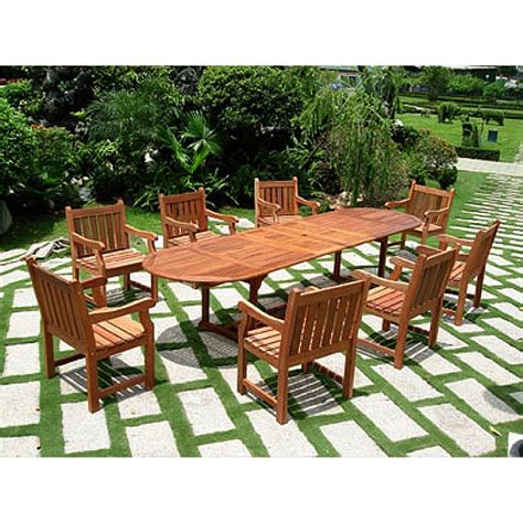 eucalyptus patio furniture 7 pc eucalyptus outdoor dining