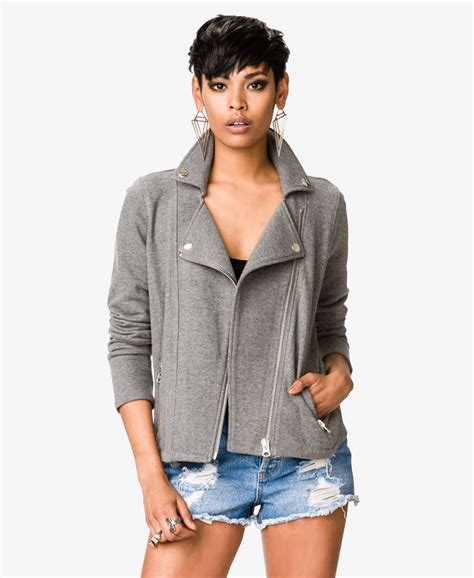 Lyst Forever 21 Knit Moto Jacket In Green