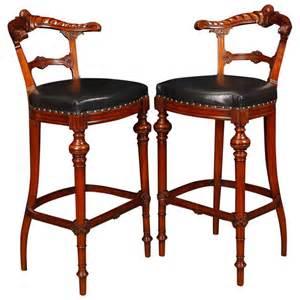mahogany bar stool pair of victorian style hand carved mahogany bar stools seats at 1stdibs