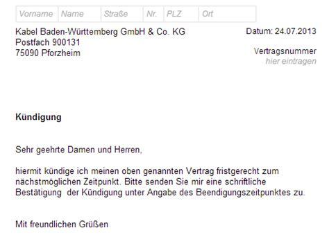 Adac Kfz Versicherung Per Email K Ndigen by Kabel Bw K 252 Ndigung Vorlage Chip