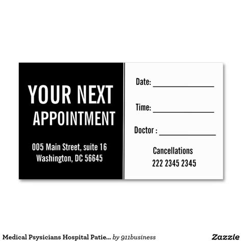 disability insurance appointment setting cards template psysicians hospital patient appointment business
