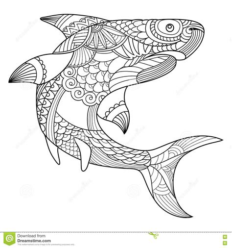 coloring book vector shark coloring book for adults vector stock vector image