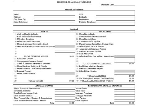 statement template pdf professional personal financial statement template free