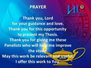 Prayer Before Defending Thesis Oral Defense Presentation