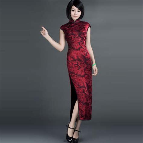 Cheongsam Dress roses shadowed silk cheongsam dress stand collar rosy