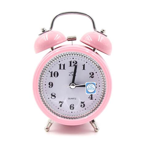 fashion mute metal alarm clock with light 12 8 5cm pink alexnld