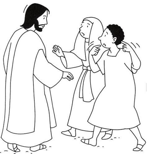coloring page jesus heals deaf the world s catalog of ideas