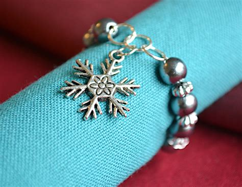 Handmade Napkin Rings - handmade napkin rings with snowflake charm lovely table