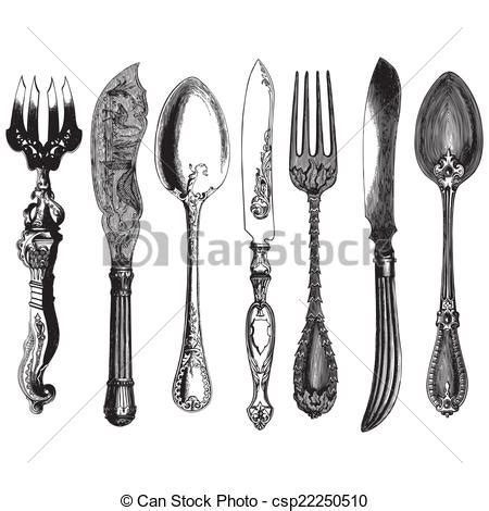 Vector Clip Art of Vintage cutlery   Ancient style