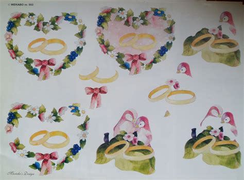 Decoupage 3d Pictures - 3d decoupage sheet a4 birds and wedding rings