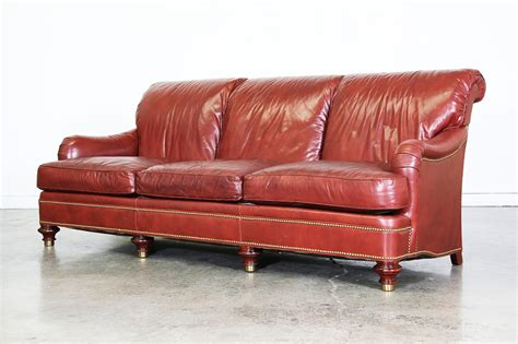 maroon leather couch burgundy leather sofa by hickory furniture vintage