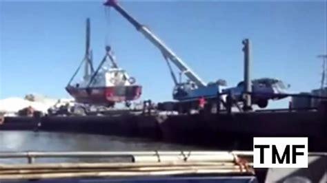 youtube boat launch fails massive boat launch fail crane fail youtube