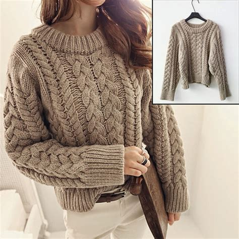 thick cable knit sweater chunky cable knit jumper womens crochet and knit