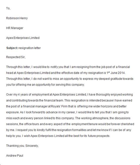 employee resignation letter templates ms word