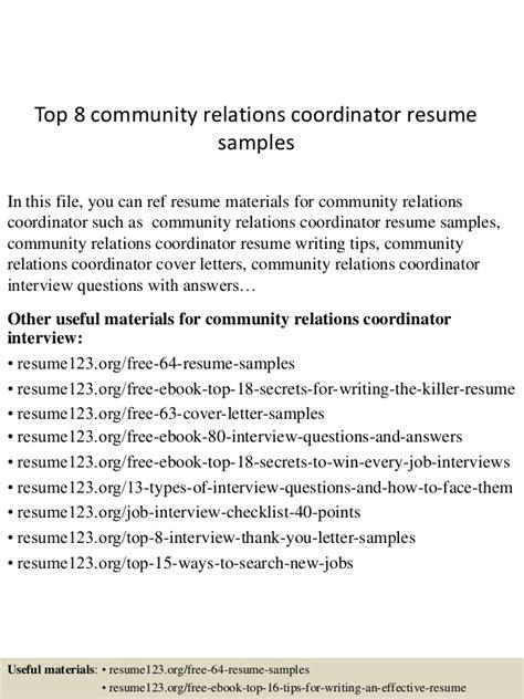 top 8 community relations coordinator resume sles